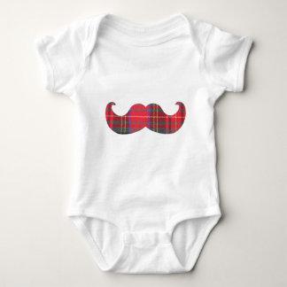 Red Tartan Mustache Baby Bodysuit