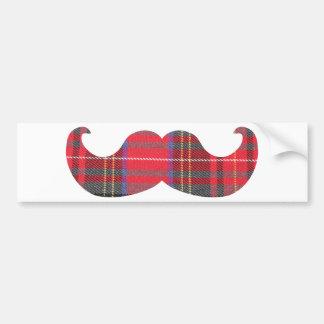 Red Tartan Mustache Bumper Stickers