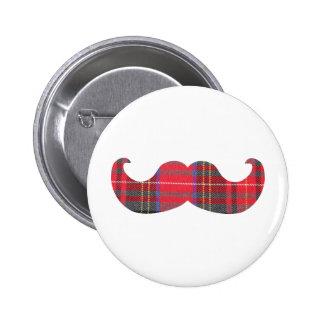 Red Tartan Mustache Button