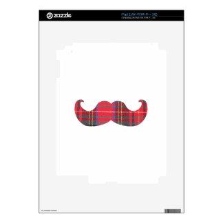 Red Tartan Mustache Decals For iPad 2
