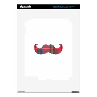 Red Tartan Mustache iPad 3 Decal