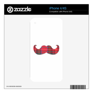 Red Tartan Mustache iPhone 4S Skins