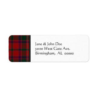 Red Tartan Plaid Address Labels