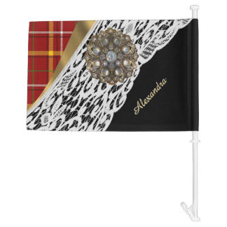 Red tartan plaid and white lace car flag