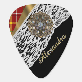Red tartan plaid and white lace guitar pick