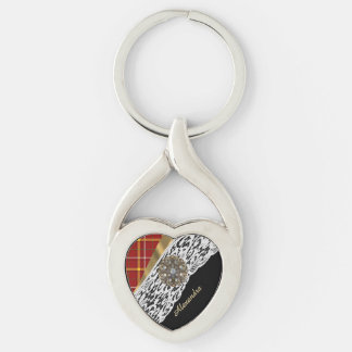 Red tartan plaid and white lace Silver-Colored Heart-Shaped metal keychain