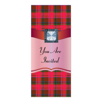 Red tartan plaid any occasion 4x9.25 paper invitation card