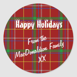 Red tartan plaid happy christmas holiday classic round sticker