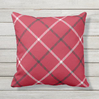 Red Tartan Plaid Pattern Patio Deck Chair Throw Pillow