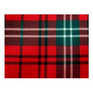 Red tartan post card
