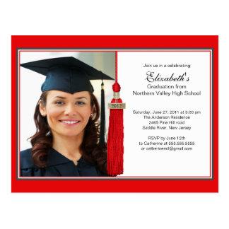 Red Tassel Photo Graduation Party Invitation 2012 Postcard