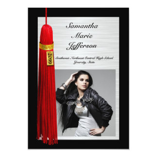 Red Tassel with Photo Graduation Party Card