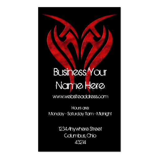Red tattoo design grunge tattoo business card zazzle for Business card size tattoos
