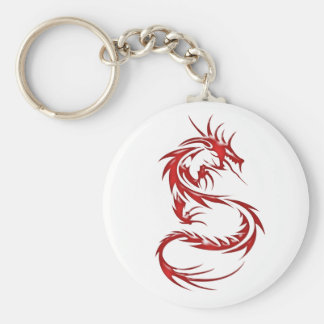 Red Tattoo Dragon Basic Round Button Keychain