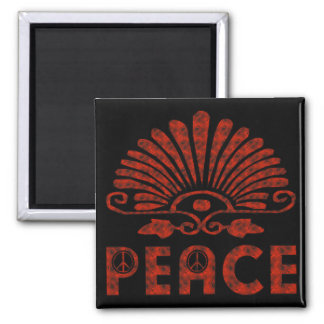 Red Tattoo Peace Art 2 Inch Square Magnet