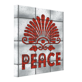 Red Tattoo Peace Art Stretched Canvas Print