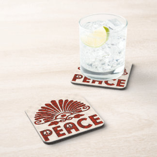 Red Tattoo Peace Art Drink Coaster