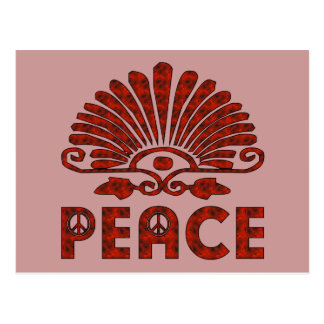 Red Tattoo Peace Art Postcards