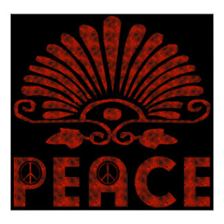 Red Tattoo Peace Art Poster