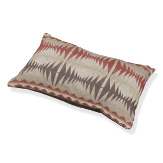 Red Taupe Beige Dark Brown Eclectic Ethnic Look Pet Bed