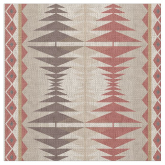 Red Taupe Beige Tan Brown Ethnic Mosaic Pattern Fabric