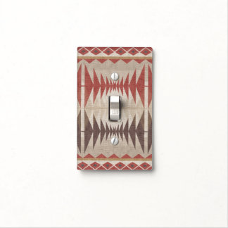 Red Taupe Beige Tan Brown Ethnic Mosaic Pattern Light Switch Cover
