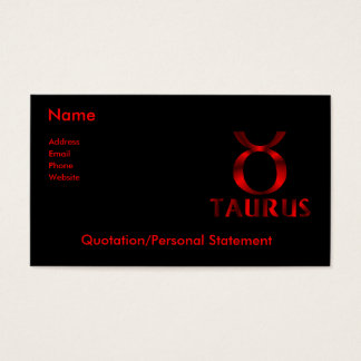 Red Taurus Horoscope Symbol Business Card