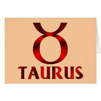 Red Taurus Horoscope Symbol Card