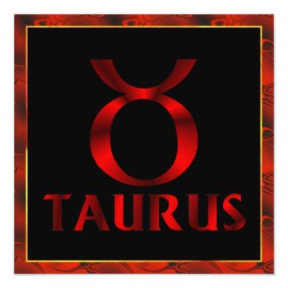 Red Taurus Horoscope Symbol Card