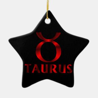 Red Taurus Horoscope Symbol Ceramic Ornament