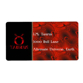 Red Taurus Horoscope Symbol Label