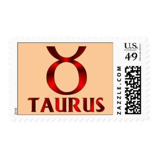 Red Taurus Horoscope Symbol Stamp