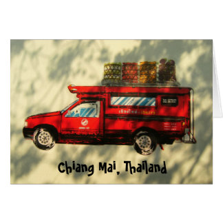 Red Taxi In Chiang Mai Greeting Card