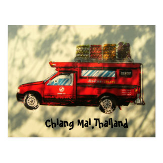 Red Taxi In Chiang Mai Postcard