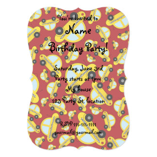 Red taxi pattern 5x7 paper invitation card