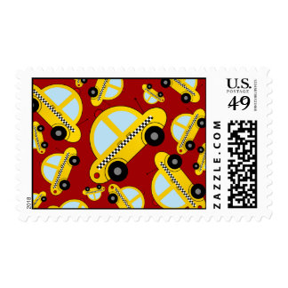 Red taxi pattern postage stamp