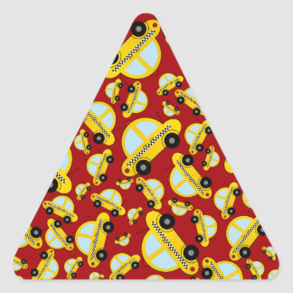 Red taxi pattern triangle sticker
