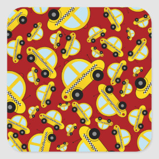 Red taxi pattern sticker
