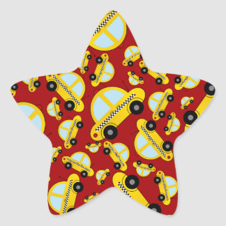 Red taxi pattern star stickers
