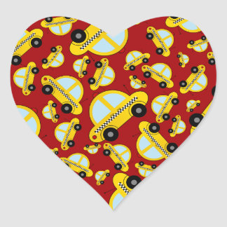 Red taxi pattern heart sticker