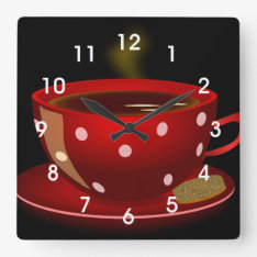 Red Tea Or Coffee Cup Kitchen Wall Clock at Zazzle
