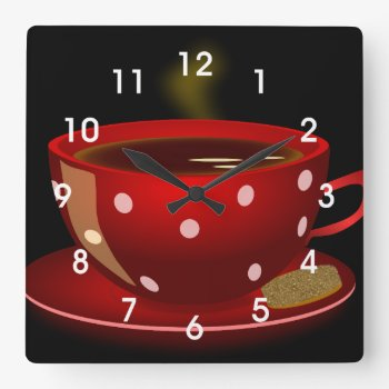 Red Tea Or Coffee Cup Kitchen Wall Clock by DaisyPrint at Zazzle