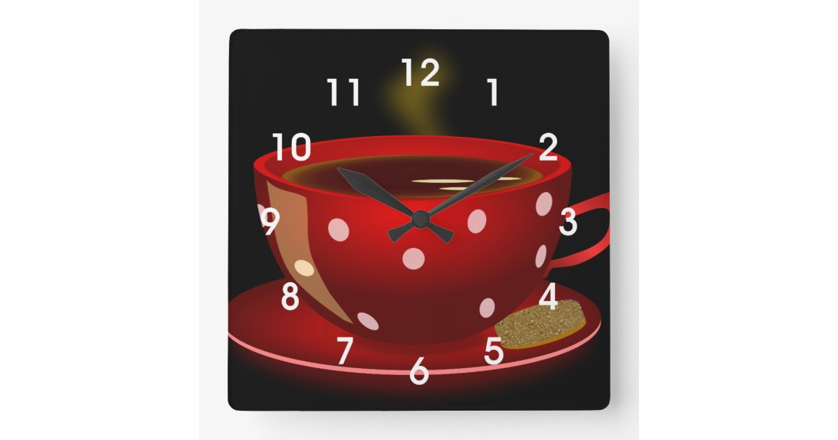 Red Tea Or Coffee Cup Kitchen Wall Clock Zazzle Com
