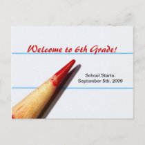 Red Teacher Pencil On Lined Paper Back To School Announcement Postcard