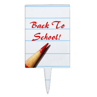 Red Teacher Pencil On Lined Paper Back To School Cake Topper