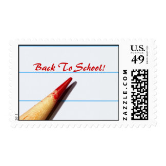 Red Teacher Pencil On Lined Paper Back To School Postage