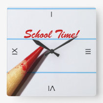 Red Teacher Pencil On Lined Paper Back To School Square Wall Clock
