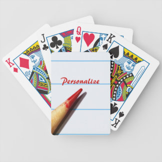 Red Teacher Pencil On Lined Paper With Name Bicycle Playing Cards