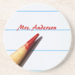 Red Teacher Pencil On Lined Paper With Name Coasters