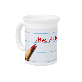 Red Teacher Pencil On Lined Paper With Name Drink Pitcher